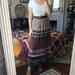 Vintage Boho Floral Skirt